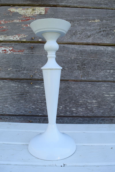 White metal pillar candle stick