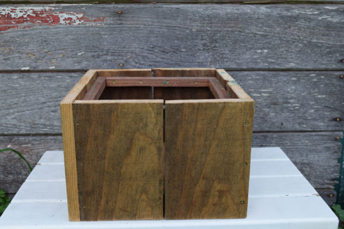 Antiqued wood boxes (match stands)